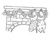 cheminée décorée avec chaussettes - Noël