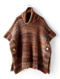 Tweed Under Wraps | This topper is a must-have fall piece this year - crocheted in Patons Colorwul, this poncho is oversized for a cozy & warm fit.