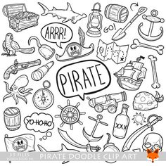 Pirate Adventure Objects Doodle Icons Clipart Scrapbook Set By LittleFoxDigitals On Etsy