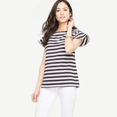 10 Best Summer Wear-To-Work Tops - #6  Ann Taylor Stripe Flutter Sleeve Top #rankandstyle