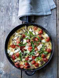 Polenta Bake with Tomato, Feta and Mushrooms. This is the perfect January recipe and an easy one pot wonder.