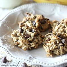 Enjoy cookies without the guilt! These Banana Oatmeal Chocolate Chip Cookies are lightened up and made with bananas, oats, and coconut oil.