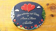 Tür- & Namensschilder - Keramikschild Herzpaar - ein Designerstück von KeramikBottke bei DaWanda