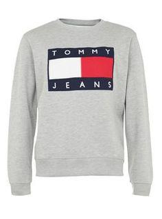 66fc51c88554d9 Tommy Jeans Grey Marl Logo Sweatshirt Tommy Hilfiger Sweatshirt Mens