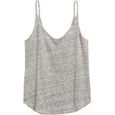 H&M Linen Jersey Camisole Top $9.99 ($9.99) ❤ liked on Polyvore featuring tops, jersey tank top, white tank, linen tank tops, white jersey and white cami top