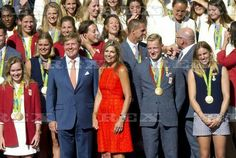 Dutch royals host reception for Olympic atheletes, Den Haag, Netherlands - 24 Aug 2016  Queen Maxima and King Willem-Alexander with Dutch Olympic medal winners 24 Aug 2016