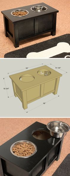 "How to build a DIY Raised Dog Bowl Stand | Free printable project plans at buildsomething.com | Elevate your dog's dining experience with a raised stand for its food and water bowls. The stand holds two 6"" dog bowls at a convenient height for larger dogs. You can build one for your furry friend with just a few pine boards, a few tools, and some paint or stain."