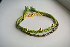 Camouflage Bracelet  Woven Embellished Statement Bracelet by SKRIN, $28.00
