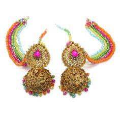 Multi Coloured Indian Pakistani Multi Coloured Jhumki Earrings Mehndi Parties Wedding Bridal Jhumki Earrings, Dangle Earrings, Crochet Earrings, Mehndi Party, Antique Gold, Indiana, Plating, Dangles, Chain