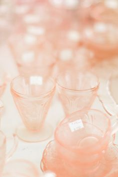 My favorite color of glass...blushy pink. Perfect for every table, every meal. #flea-market  http://www.stylemepretty.com/living/2014/09/10/stress-free-guide-to-flea-markets/  Photography: Ruth Eileen - rutheileenphotography.com