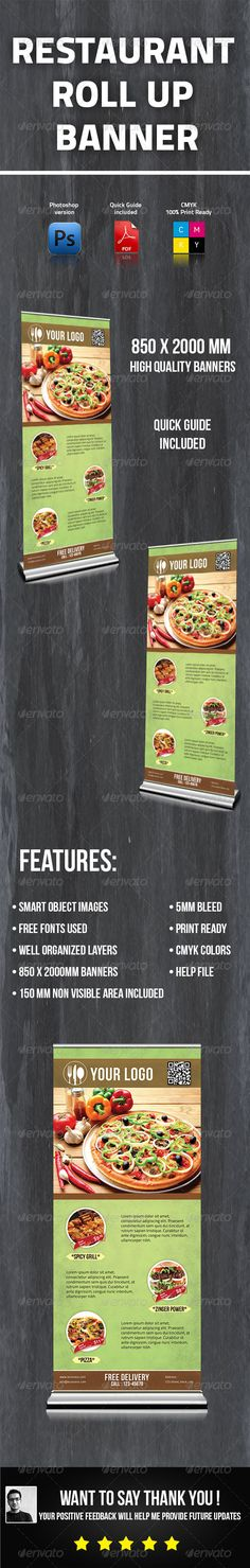 Restaurant Roll Up Banner Template PSD. Download here: http://graphicriver.net/item/restaurant-roll-up-banner/5967409?s_rank=1778&ref=yinkira