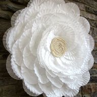 Use a hula hoop, coffee filters, hot glue, and some lace to make this…