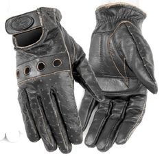 Outlaw Vintage Men's Leather Harley Touring Motorcycle Gloves - Dark Brown