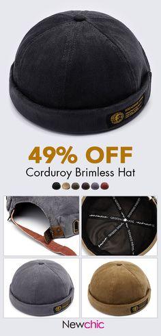 c06df5a0 Men Women Couples Adjustable Solid Corduroy Velvet Brimless Hats Retro  Vogue Crimping Bucket Cap is hot sale on Newchic.