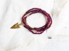 Red Garnet Gemstone Arrowhead Necklace
