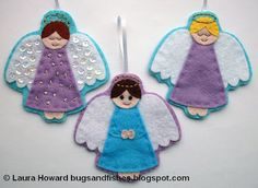 How-to felt angel ornaments make heavenly ornaments (@ Bugs and Fishes) Mais Christmas Ornaments To Make, Christmas Sewing, How To Make Ornaments, Homemade Christmas, Christmas Angels, Christmas Crafts, Christmas Patterns, Christmas Stocking, Felt Diy