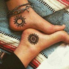 Henna Stars Suns Moons Tattoo Small Tattoo My moon and all my stars.Henna Mehndi Tattoos Big Size Henna Lace F Cute Tattoos, Beautiful Tattoos, Body Art Tattoos, Neck Tattoos, Female Tattoos, Dragon Tattoos, Unique Tattoos, Girl Tattoos, Sibling Tattoos