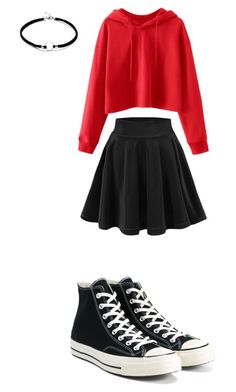 A fashion look from September 2017 featuring red hoodie, skater skirt and converse shoes. Browse and shop related looks. Teenage Girl Outfits, Cute Girl Outfits, Cute Casual Outfits, Pretty Outfits, Stylish Outfits, Tween Fashion, Girls Fashion Clothes, Teen Fashion Outfits, Mode Outfits