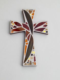 """Mosaic Wall Cross, Abstract Floral Design, """"Sunset"""", Shades of Brown + Gold with a Touch of Maroon, Handmade Stained Glass Mosaic 12"""" x 8"""" by GreenBananaMosaicCo"""