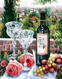 Vintage Wine Glasses, Wine Painting, Vides, Wine Art, Diamond Art, Custom Art, Red Wine, White Wine, Printables