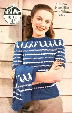 Waves of Fairisle Twin Set c. 1940s   vintage by SubversiveFemme, $2.00