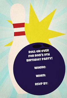 """""""Bowling birthday party"""" printable invitation. Customize, add text and photos. print for free!"""