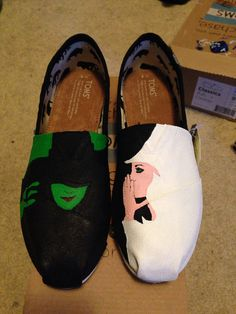 I WANT THESE SOOOO BAD!! Custom TOMS Wicked the Musical by CustomBroadway on Etsy, $100.00