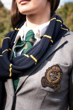 Blazer and scarf. Love this preppy look.