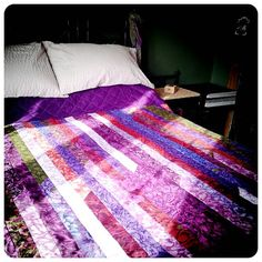 Modern, Chic Purple Patchwork Quilt - simply stunning kitsch, blousy floral prints in purple, red, blue, green - Double, Queen, King size on Etsy, $249.65