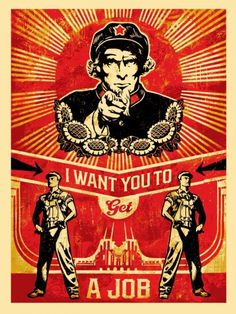 GET A JOB Neil Young Americana shepard fairey obey giant communist propaganda Obey Prints, Poster Prints, Art Prints, Communist Propaganda, Propaganda Art, Illustration Photo, Graphic Design Illustration, Neil Young, Shepard Fairey Art
