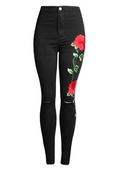 31a818dadaa20  23.99 Free shipping!Hualong Flower Embroidered Destroyed Skinny Jeans.featuring  Plus Size