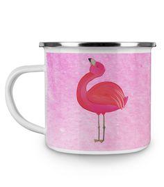 Emaille Tasse Flamingo stolz aus Metall im Emaille Look  Weiß - Das Original von Mr. & Mrs. Panda.  Diese wunderschöne Emaille Tasse von Mr. & Mrs. Panda ist wirklich etwas ganz besonders.  Diese Metalltasse mit abgesetztem Edelstahl Rand in Emaille Optik ist der perfekte, bruchsichere Begleiter für dein nächstes Abenteuer.    Über unser Motiv Flamingo stolz  Flamingos sind das Sommermaskottchen schlechthin. Wenn wir die pinken Paradiesvögel sehen, denken wir sofort an Sommer, Sonne…