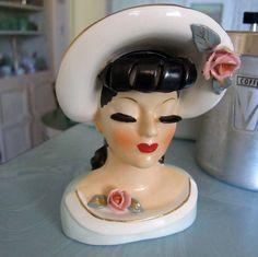 40s Vintage Head Vase Glamorous Lady Antique Rare Headvase Rose Hat Big Dark Lashes Bangs