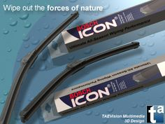 080 - Ref. BoschIcon :: 3D Scene BOSCH Automotive Parts - BOSCH Icon Wiper Blades - Windshield Wipers (Rain Ambient)
