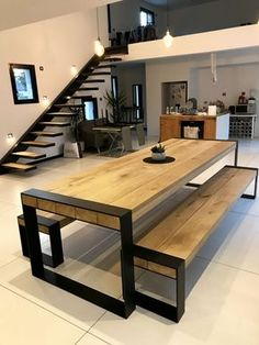 table ideas for your interior concept metal wood accompanies you # . - table Ideas for your metal-wood interior concept will accompany you ta - Interior, Room Furnishing, Modern House Design, Home Decor, House Interior, Dining Room Paint, Home Interior Design, Interior Design, Furniture Design