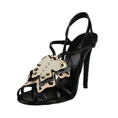 a6d1c9b2e81f2c Amazon.com  Just Cavalli Women s Black Leather High Heel Slingbacks Sandals  Shoes US 9 IT 39  Clothing