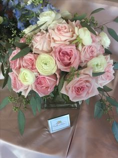 Beautiful pink rose centerpiece from Fields in Bloom, located in Lexington, KY.