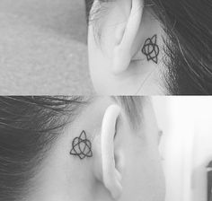 Celtic knot of sisterhood tattoo behind ear