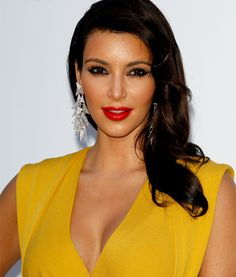 If your going for a glossy red lip, take a few tips from #KimKardashian. Clean eye brows, mascara, and a hint of bronzer pull it all together.  #Vday