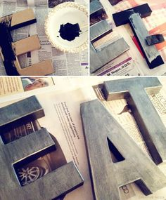 Anthro inspired letters. Super-easy painting method to transform cardboard letters into look-alike Anthro zinc letters.