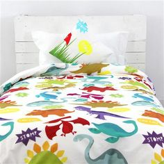 Little w Dinosaur Single Duvet Cover and Square Cushion Cover Set