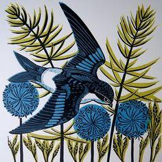 Housemartin Linocut Print