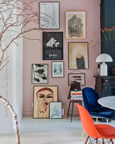 The home of has us fully committing to a blush pink gallery wall. Decor, Gallery Wall Trend, Interior, Wall Trends, Gallery Wall Living Room, Living Room Decor, Home Decor, House Interior, Interior Design