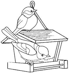 vogels voeren Bird Coloring Pages, Coloring Pages For Kids, Coloring Sheets, Coloring Books, Vogel Quilt, Bird Quilt, Quilling Patterns, Hand Embroidery Patterns, Digi Stamps