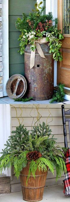 To Create Colorful Outdoor Winter Planters And Beautiful Christmas Planters ., How To Create Colorful Outdoor Winter Planters And Beautiful Christmas Planters ., How To Create Colorful Outdoor Winter Planters And Beautiful Christmas Planters . Christmas Planters, Christmas Porch, Country Christmas, Winter Christmas, Christmas Crafts, Thanksgiving Holiday, Winter Porch, Christmas Greenery, Christmas Ideas