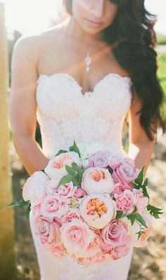 Peonies, begonias, hydrangeas, gardenias, and roses. The perfect wedding bouquet!