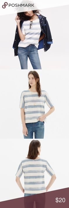 Madewell Cloudstripe Tee Madewell blue and cream striped short sleeve top. In a slightly boxy cropped fit. Cut from heavy slub cotton with rolled sleeves, a raw-edge neckline and fresh stripes, this might just replace your favorite sweatshirt. Size M. Very good condition. Madewell Tops Tees - Short Sleeve