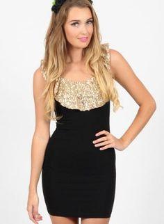 Black Cocktail Dress - Black Minidress with Gold Sequin