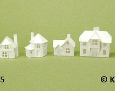 Tiny Village pre-cut kit to make 8 miniature cardstock buildings, 3 color choices, white, gingerbread brown and black Paper Houses, Wood Houses, Putz Houses, 10 Envelope, Led Tea Lights, Glitter Houses, Old Town, Etsy Store, In The Heights