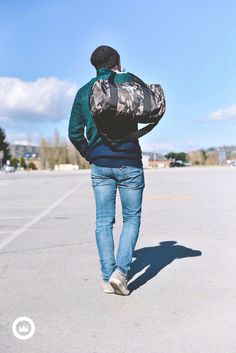Lovely outfit by #nohow  #camo canvas barrel bag #medoc knit  Get this style on NOHOWSTYLE.COM